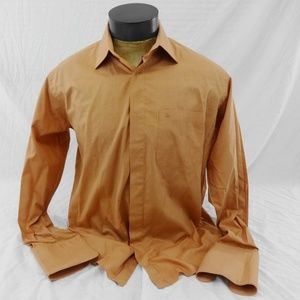 STACY ADAMS Orange French Cuff Shirt 16 34-35